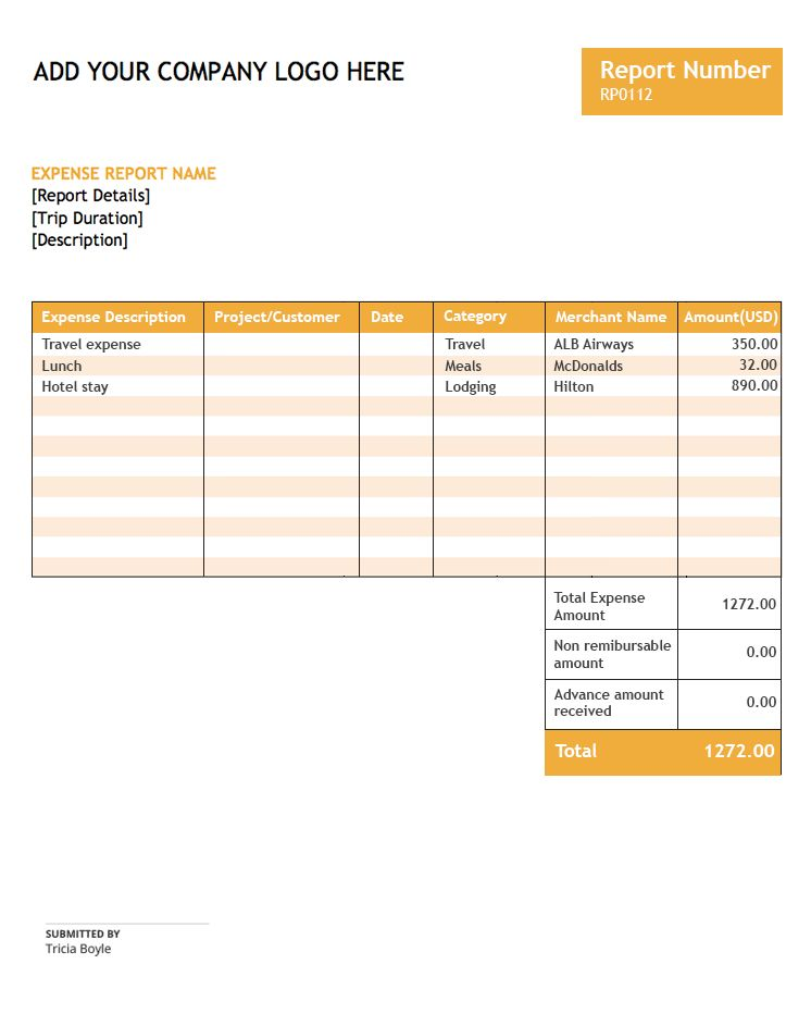 Expense report template | Zoho Expense