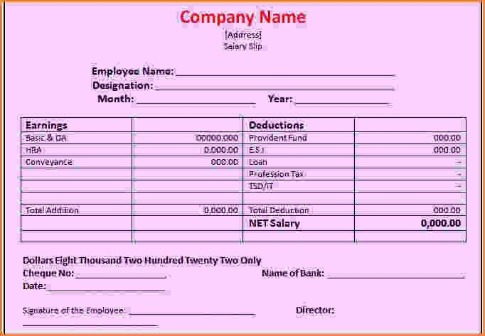 4+ salary receipt sample | Simple salary slip