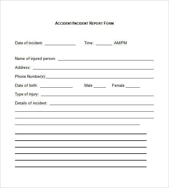 Incident Report Form Template Word | Business Template