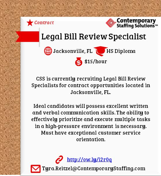 CSS is #hiring Legal Bill Review Specialists in Jacksonville, FL l ...