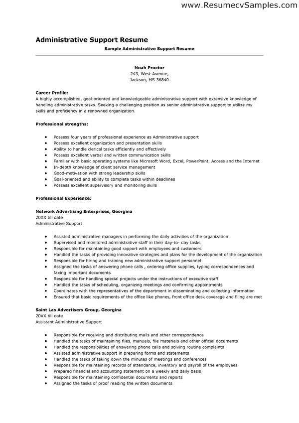 Download Administrative Support Resume Samples ...