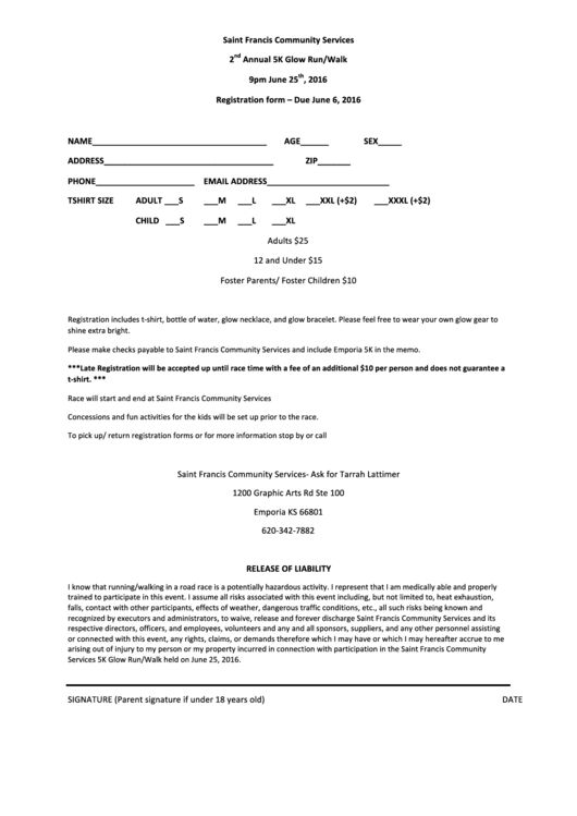 5k Registration Template. event forms fundraising form templates ...