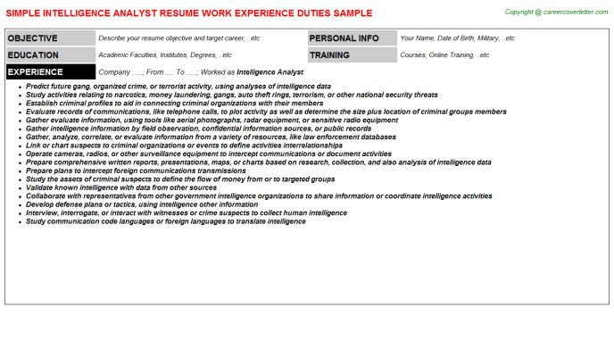 Competitive Intelligence Analyst Resumes Samples