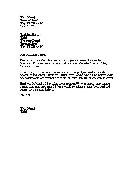 Letter Apologizing To Client For Discourteous Treatment For ...