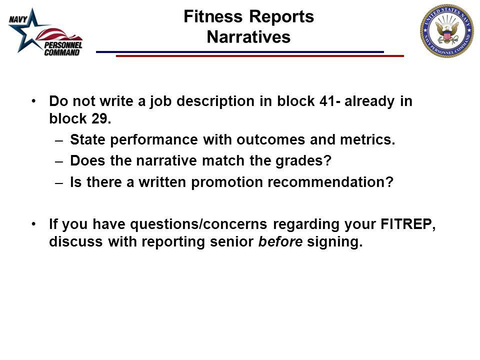 FITNESS REPORTS. Fitness Reports Single most important personnel ...