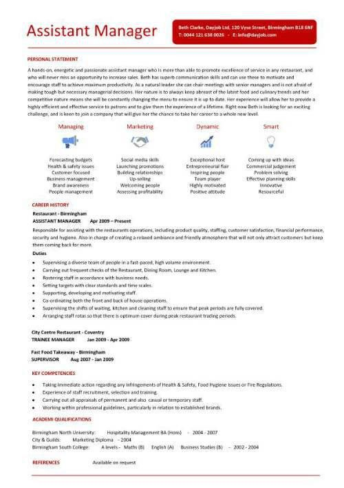 Assistant Manager Restaurant Resume | ilivearticles.info