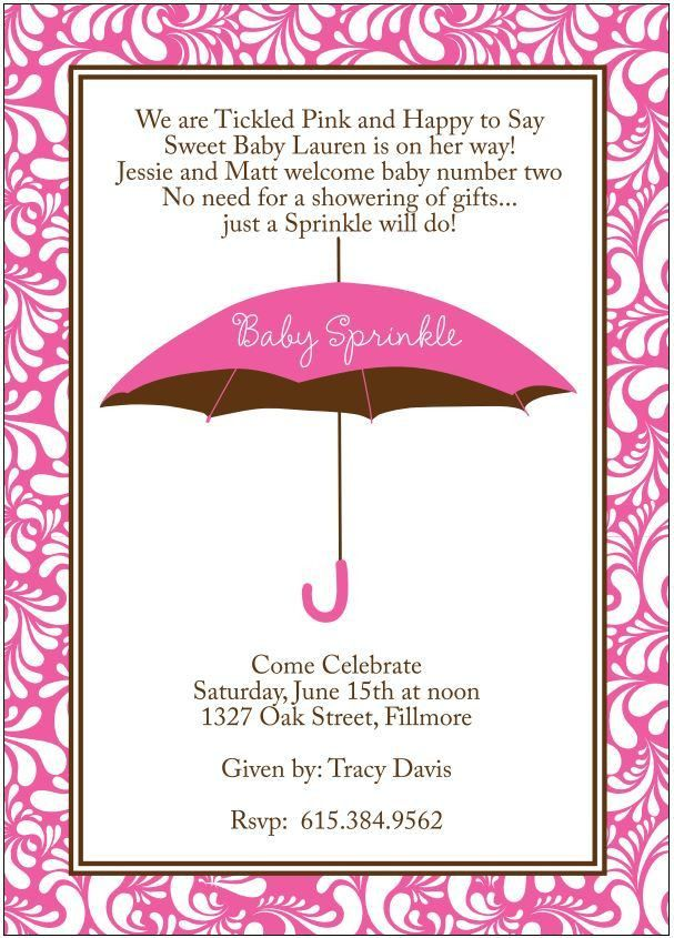 Baby Girl Sprinkle Shower Invitation to welcome second baby ...