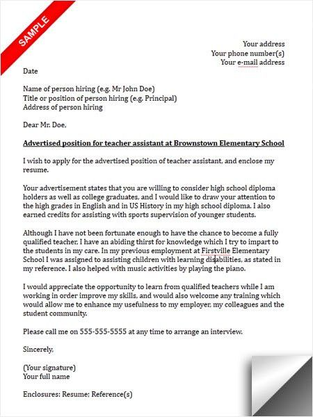 Cover Letter for a Teaching Assistant forums learnist for Cover ...