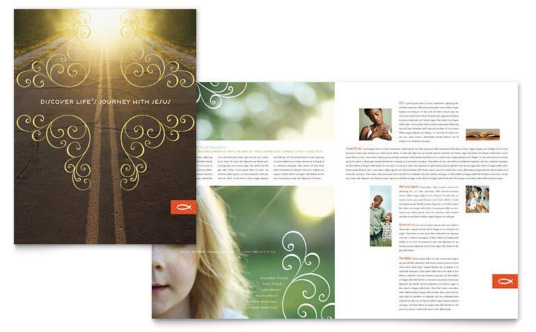 Christian Church Religious Brochure Template - Word & Publisher