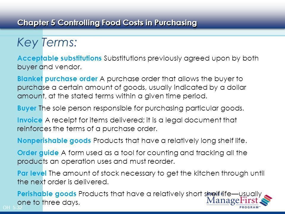 OH 5-1 Controlling Food Costs in Purchasing and Receiving 5 OH ppt ...
