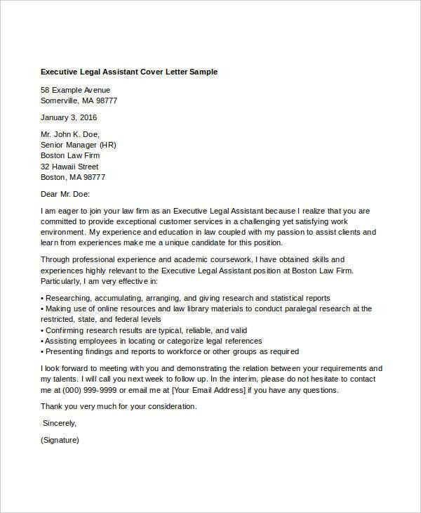 cover letter legal assistant legal assistant cover letter legal ...