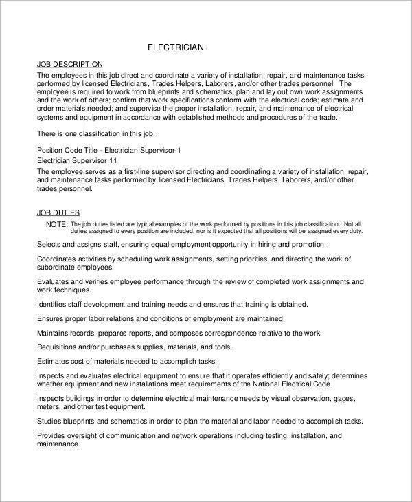 Sample Electrician Resume - 9+ Examples in Word, PDF