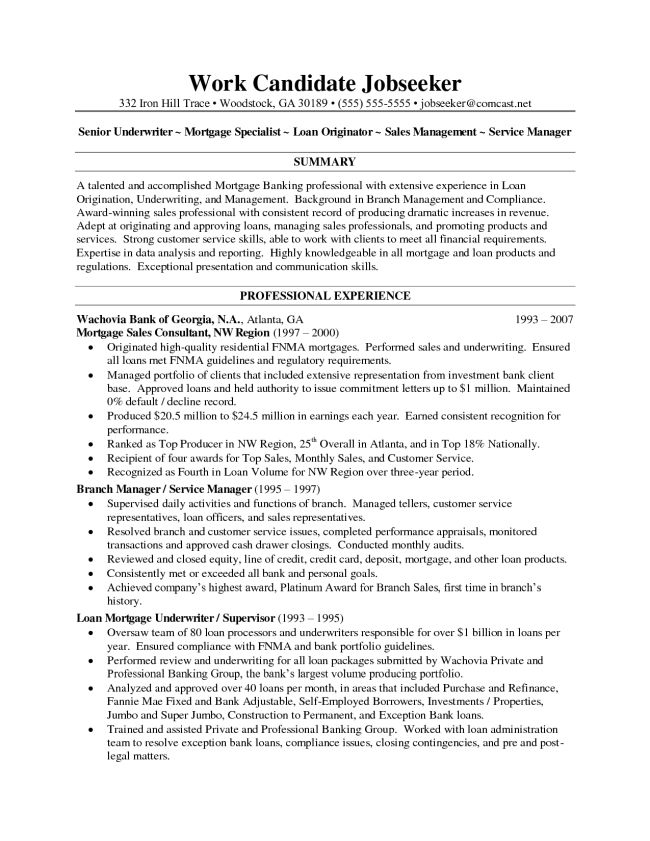 Sample Resumes for Mortgage Underwriter : Vinodomia