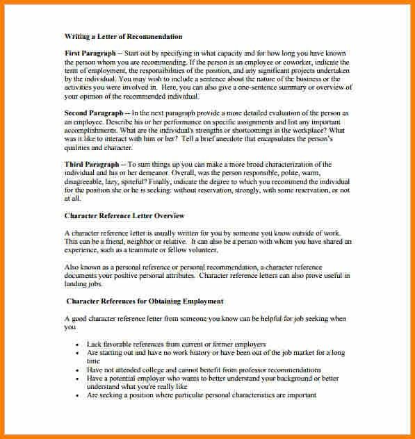 7+ character letter format | resume reference
