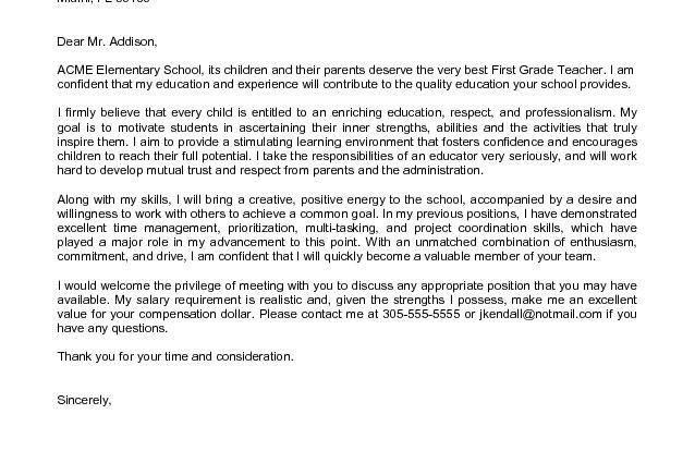 Elementary School Teacher Cover Letter Sample First Time Teacher ...
