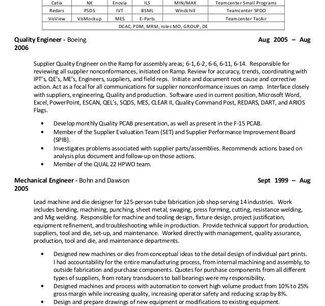 Boeing Mechanical Engineer Sample Resume - Resume CV Cover Letter