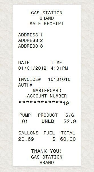 Gas Station Receipt