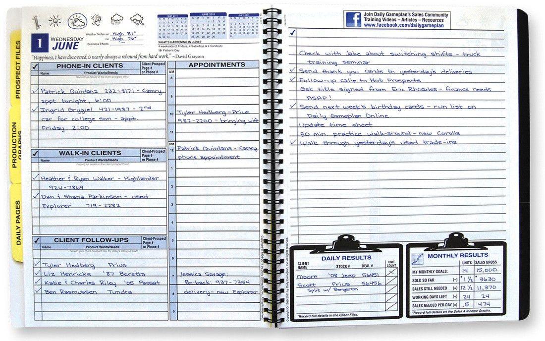 Daily Gameplan Salesperson's Planner