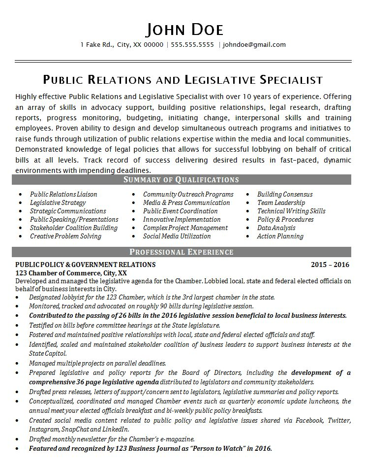 Public Relations Resume Example - Political Legislative Specialist