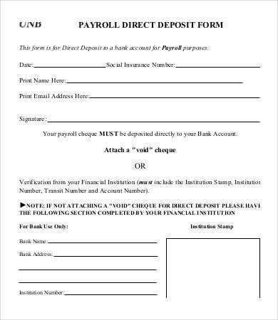 Direct Deposit Form Template | Template Idea