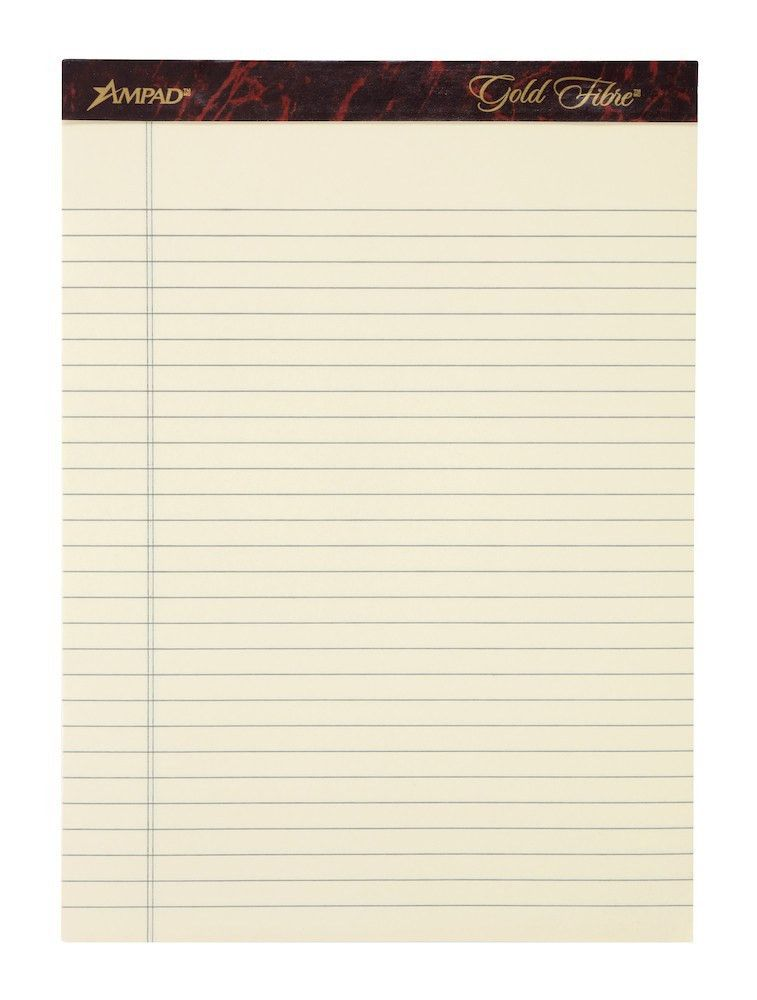 "Ampad Gold Fibre Writing Pad, 8 1/2"" x 11 3/4"", Ivory, 50 Sheets ..."