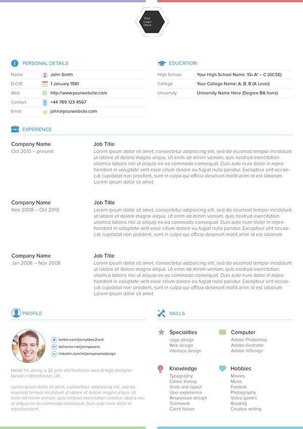 Latest Free Resume PSD Templates – Neo Design