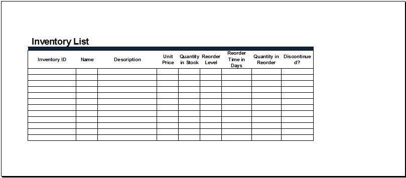 MS Excel Inventory List Templates | Document Templates