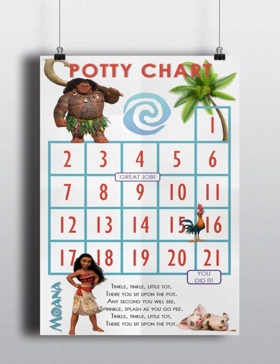 Potty Training Sticker Chart Moana / Maui / Heihei / Pua /