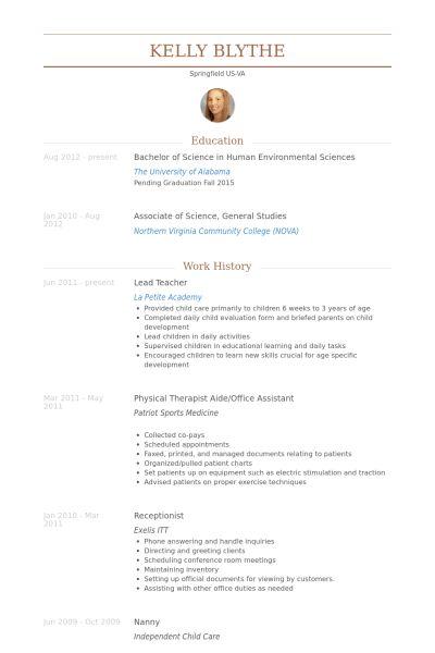 Lead Teacher Resume samples - VisualCV resume samples database
