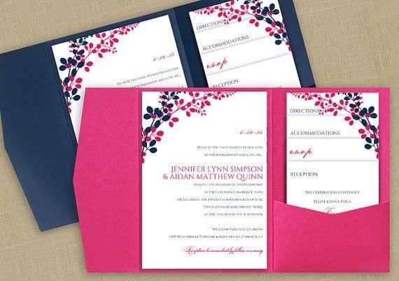 DiY Pocket Wedding Invitation Template Set - Instant DOWNLOAD ...
