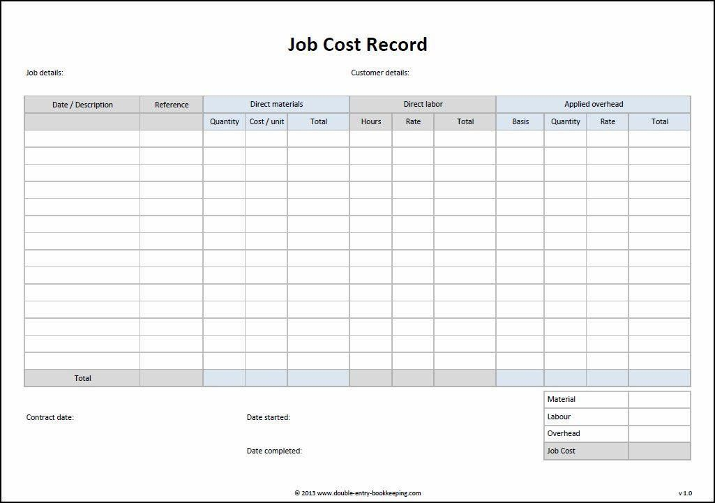 Job Cost Record Template | Double Entry Bookkeeping