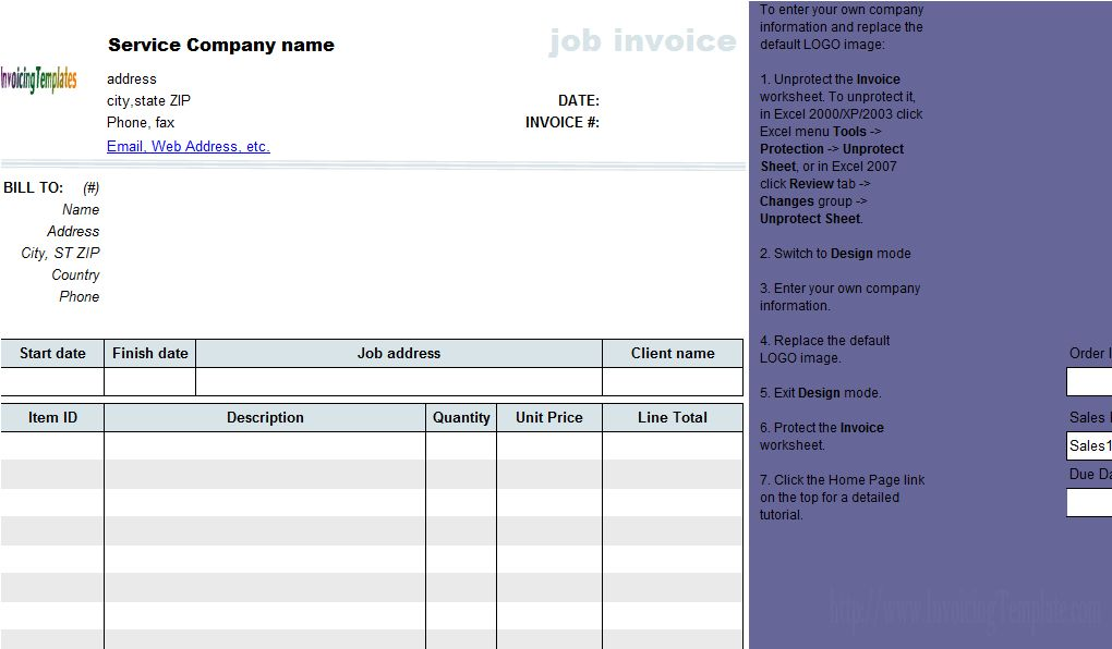 Job Invoicing Template