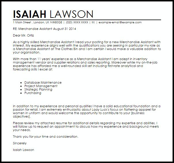 Merchandise Assistant Cover Letter Sample | LiveCareer