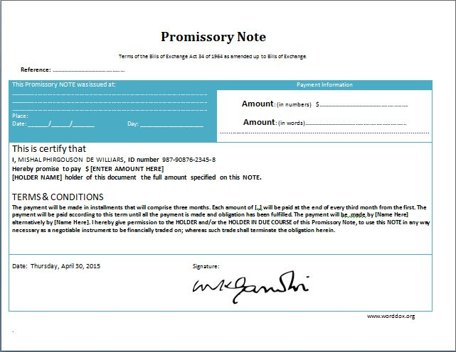 MS Word Promissory Note Form Template | Word Document Templates
