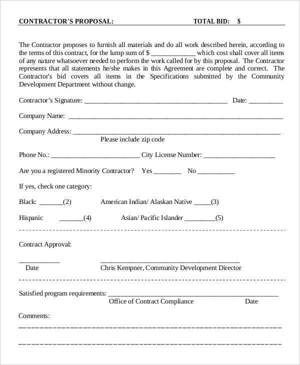 8+ Contractor Proposal Templates - Free Sample, Example Format ...