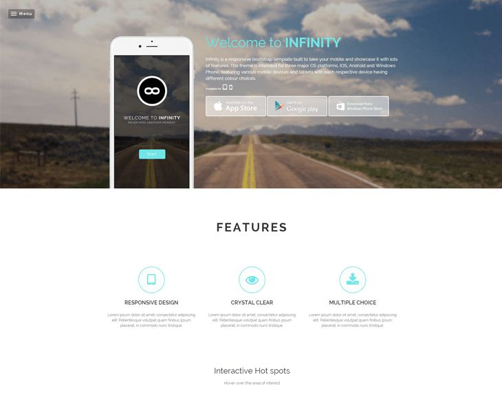Infinity FREE - Responsive Mobile App Website Template Responsive ...