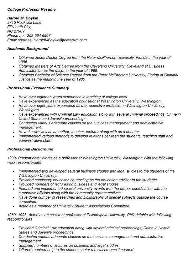 College Instructor Resume Sample - Best Resume Collection