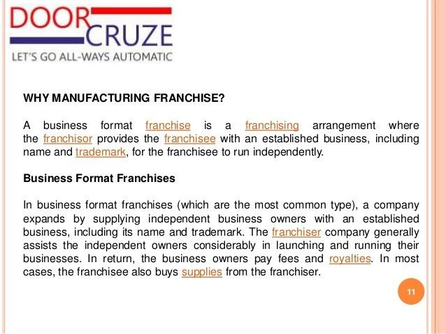 Door Cruze Manufacturing Franchise Company profile