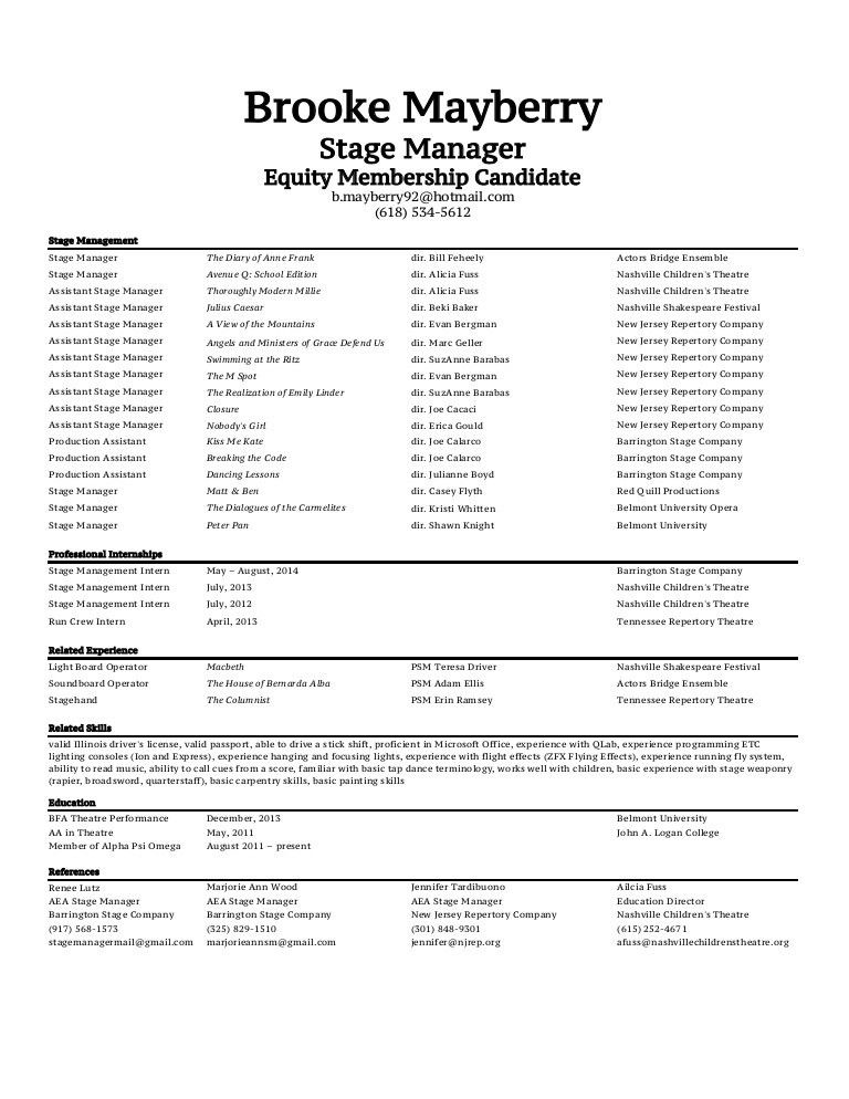 Brooke Mayberry Stage Management Resume