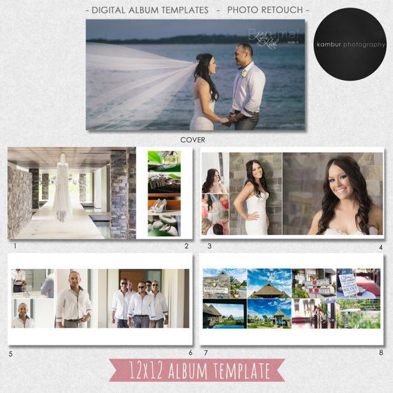 12X12 (40 pages), PSD, Wedding Album Template - 20 spread - AL4(1 ...