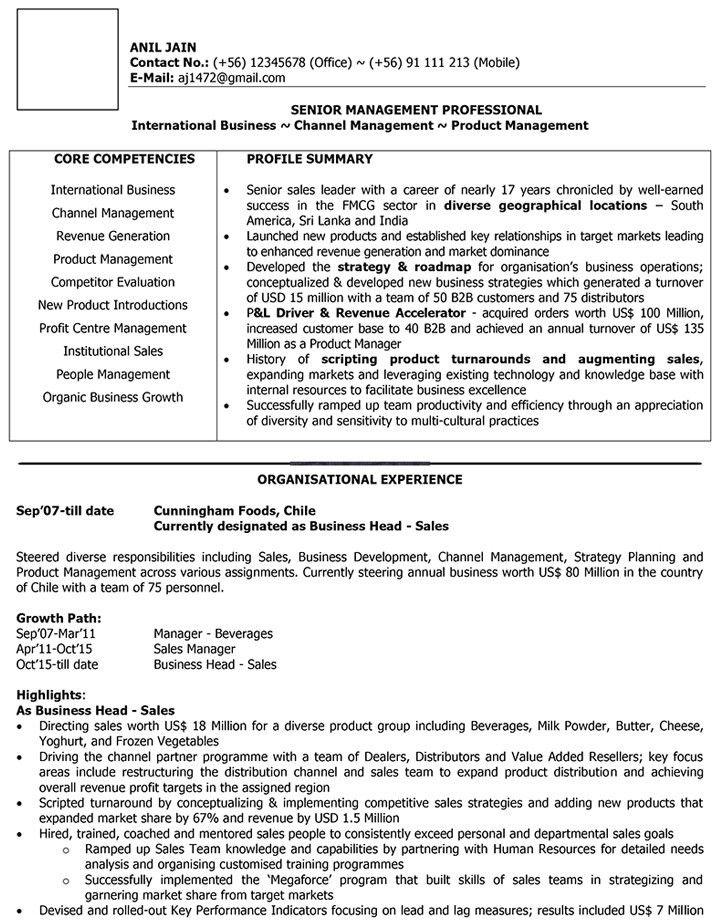 International Sales CV Format – International Sales Resume Sample ...
