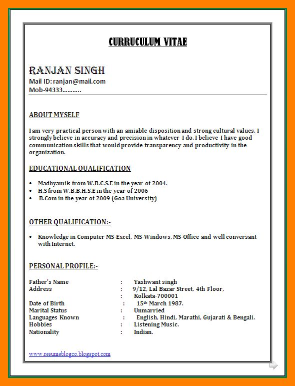 6+ resume format word file | resumes great