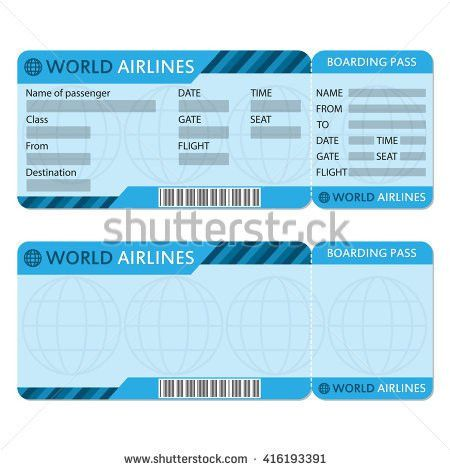 Airline Plane Ticket Template Boarding Pass Stock Vector 370260383 ...