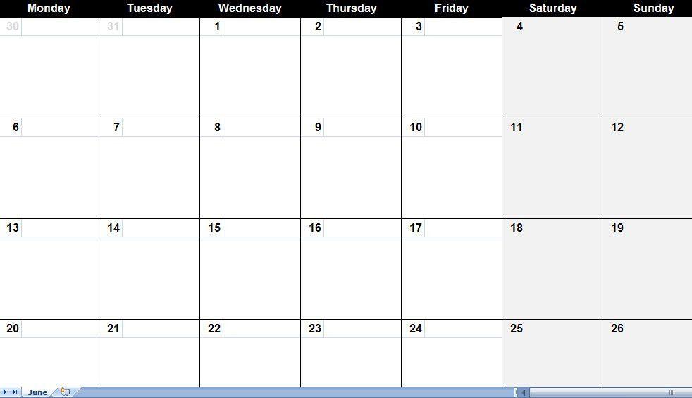Blank Monthly Calendar Template Excel | Blank Calendar Design 2017