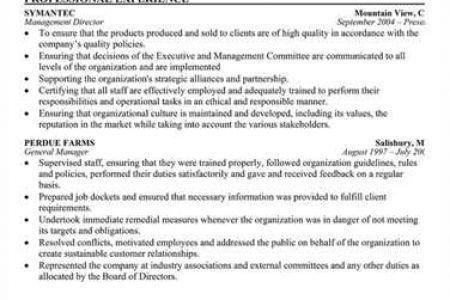 board of director resumes