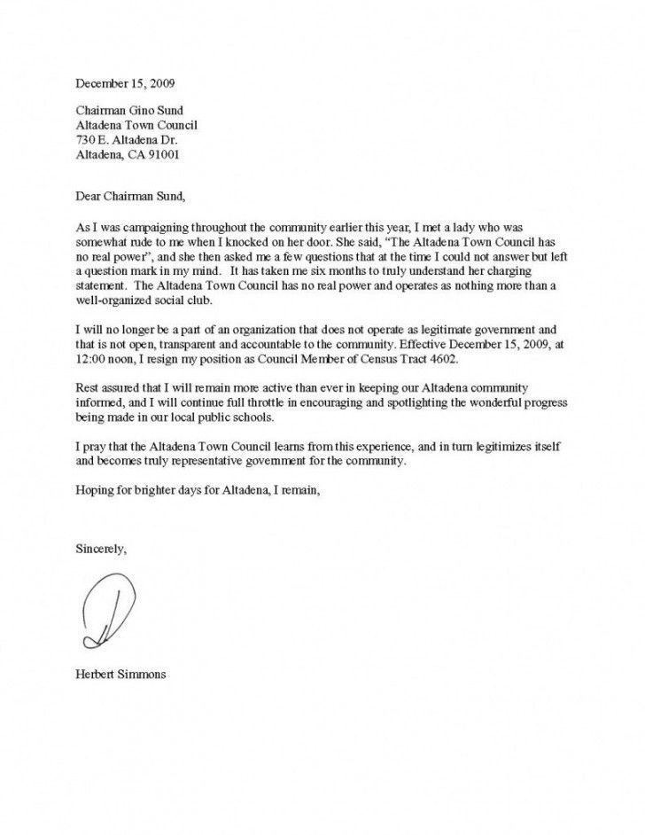 Example Letter Of Resignation | custom-college-papers