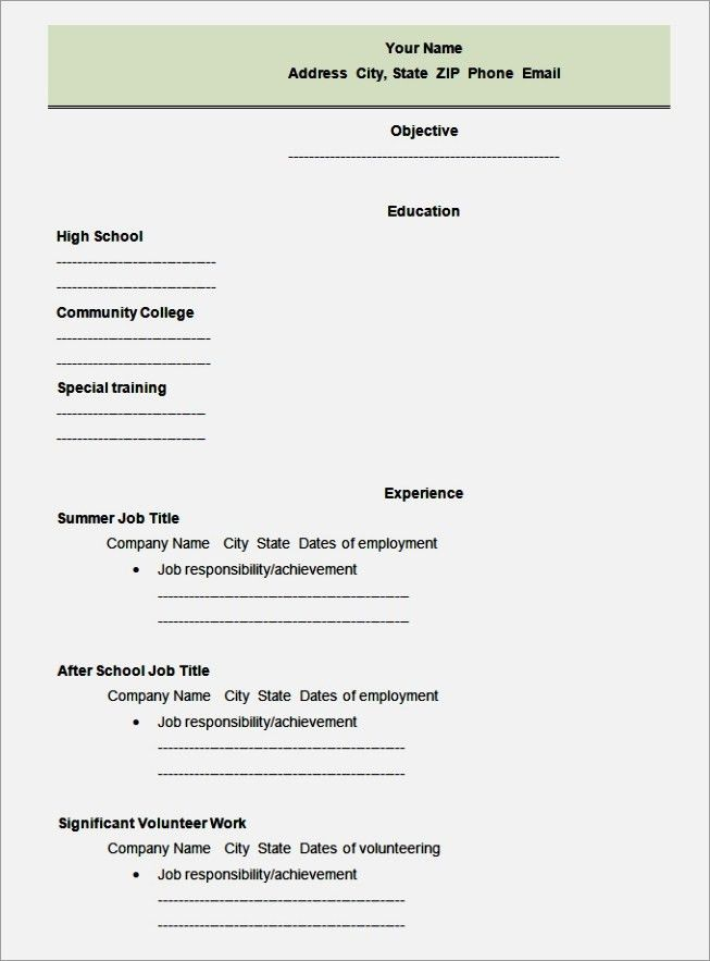 cv for high school student first cv no work experience. resume for ...
