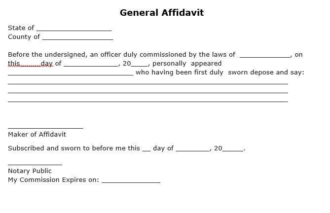 Affidavit Template Free   usefullhand.net