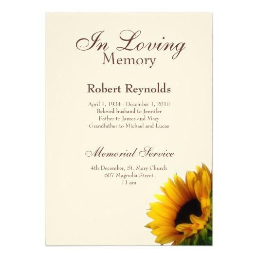 Memorial Service Invitation Announcement Template | Invitations 4 U