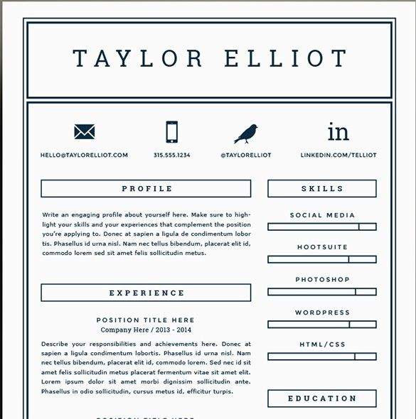 Fancy Inspiration Ideas One Page Resume Template 4 41 One Page ...